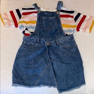 DISTRESSED BLUE JEAN OVERALL DRESS